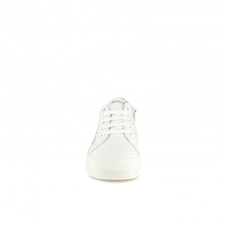 Zapatillas deporte QUETS! blancas con cordones y cremalleras laterales - Querol online