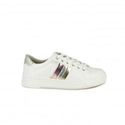 Zapatillas deportivas Xti blancas de cordones con franjas metalizadas - Querol online