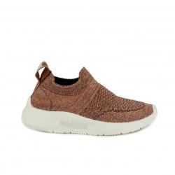 Zapatillas deportivas Xti marrones metalizadas sin cordones tipo calcetín - Querol online