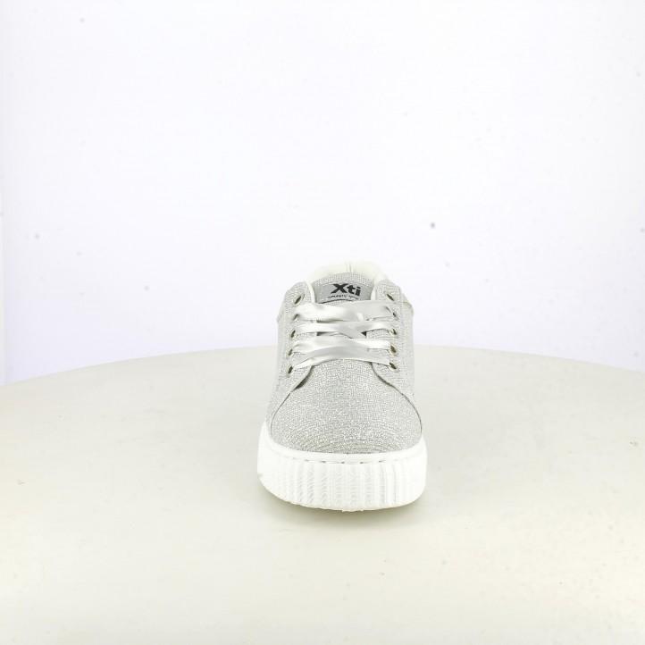 Zapatillas deporte Xti grises con purpurina y plataforma - Querol online