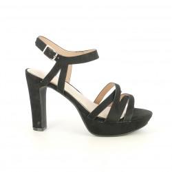 Zapatos tacón Maria Mare negros de antelina con tiras y plantilla de piel - Querol online