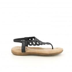 Sandalias planas You Too negras con brillantes y elástico en el tobillo - Querol online