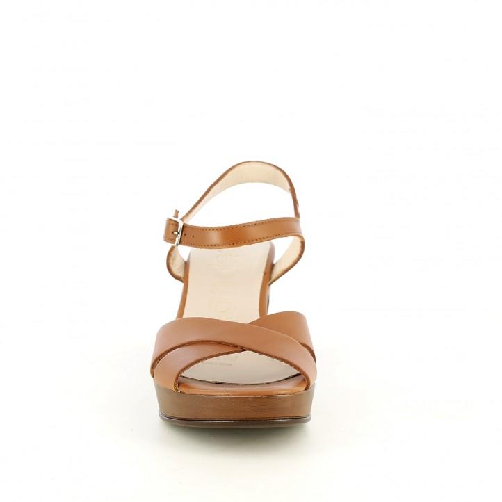 Sandàlies taló Wonders marrons de pell amb taló de fusta - Querol online