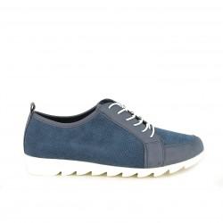 Zapatos planos Amarpies azul marino con cordones elásticos - Querol online