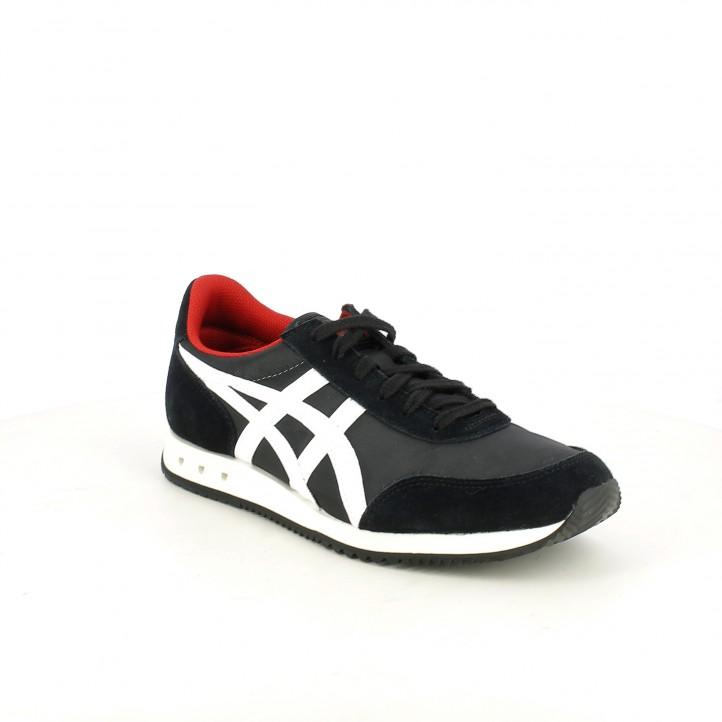 Zapatillas deportivas Asics negras y blancas con interior rojo - Querol online