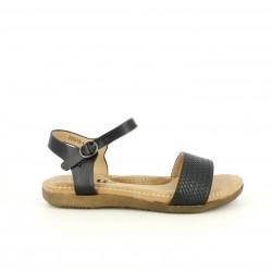 Sandalias planas You Too negras con tira y hebilla en el tobillo - Querol online