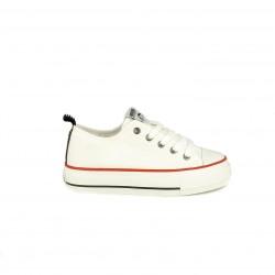 Zapatillas lona Mustang blancas bajas con cordones y plataforma - Querol online