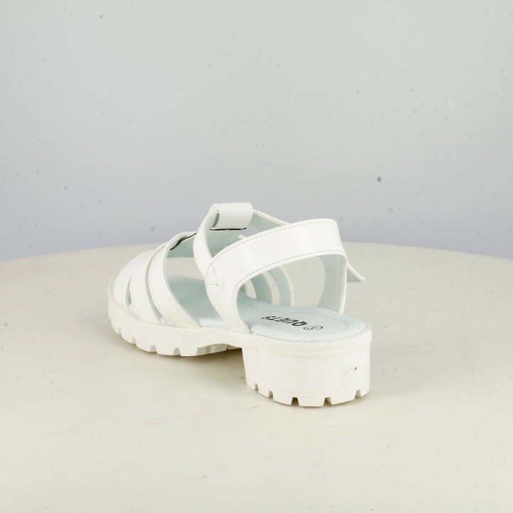 sandalias QUETS! blancas con hebilla y tacón - Querol online