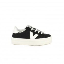 0fd0afbb49 Zapatillas lona Victoria negras y blancas con plataforma y cordones - Querol  online