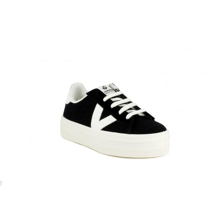 Zapatillas lona Victoria negras y blancas con plataforma y cordones - Querol online