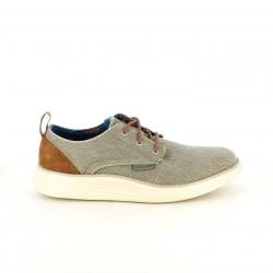 Zapatos sport Skechers memory foam grises y marrones con cordones - Querol online