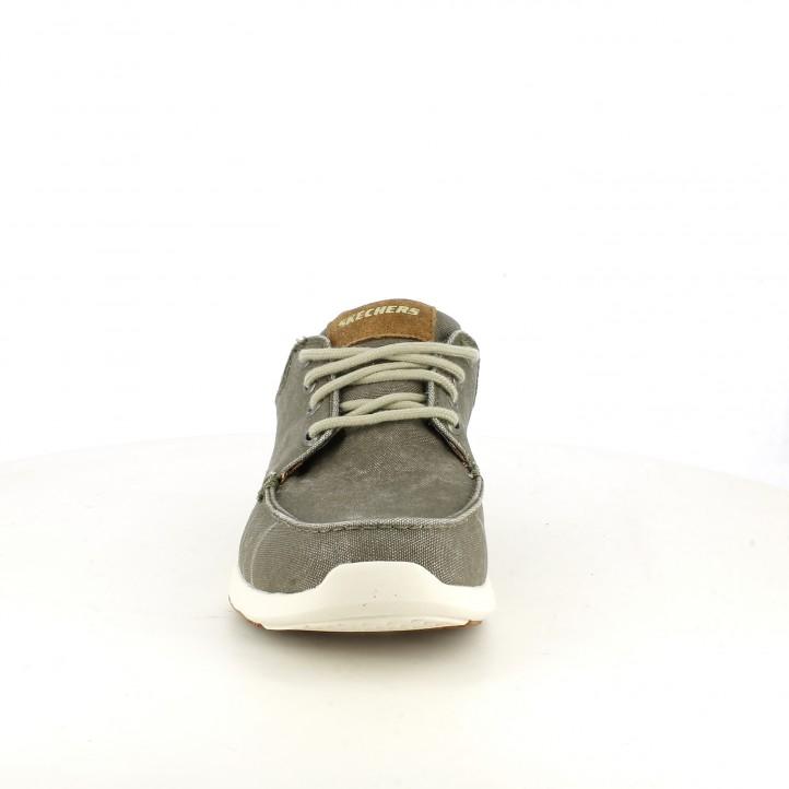 Zapatos sport Skechers memory foam marrones y grises con cordones - Querol online