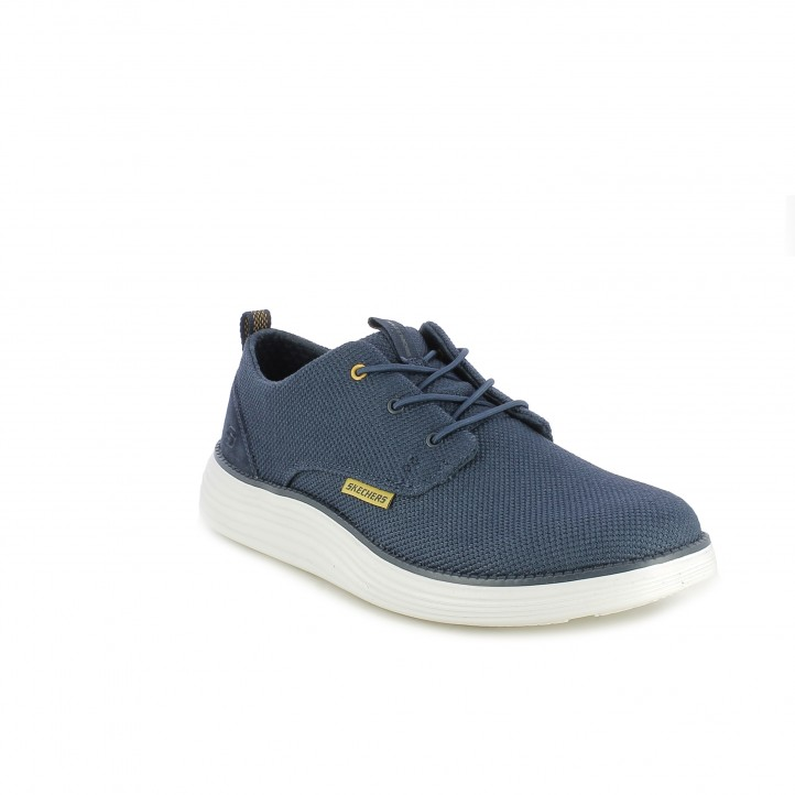 Zapatillas deportivas Skechers memory foam azul marino con cordones elásticos - Querol online