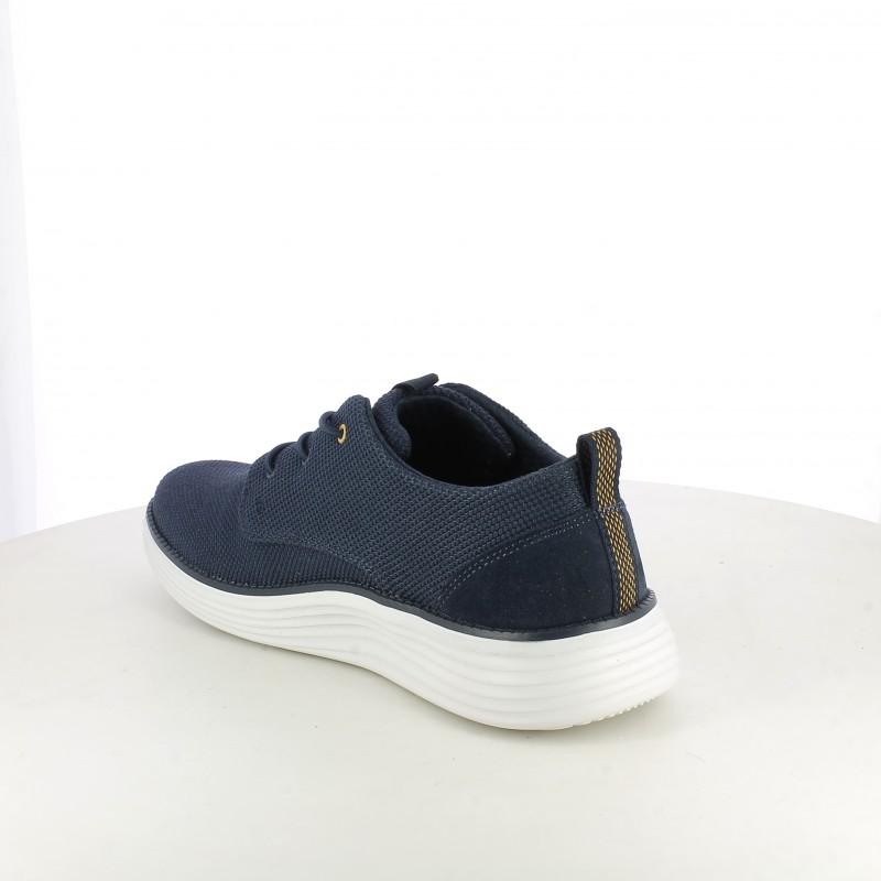 9ca663a216 ... Zapatillas deportivas Skechers memory foam azul marino con cordones  elásticos - Querol online