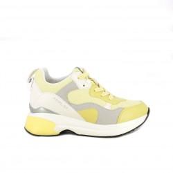 Zapatillas deportivas Replay amarillas, blancas y grises con plataforma - Querol online
