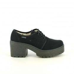 Zapatos tacón Victoria negros de lona con cordones - Querol online