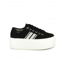 Zapatillas lona Victoria negras de cordones con rayas laterales y plataforma - Querol online
