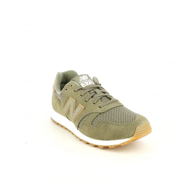 Zapatillas deportivas New Balance 373 verdes y marrones con cordones - Querol online