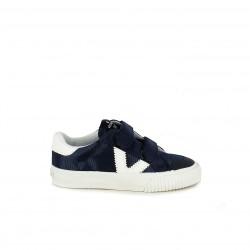 Zapatillas deporte Victoria azules y blancas con doble velcro - Querol online