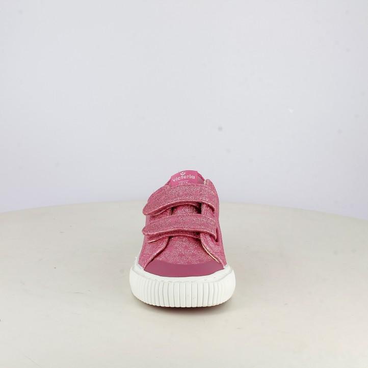 Zapatillas lona Victoria rosas de purpurina con estrellas y velcros - Querol online