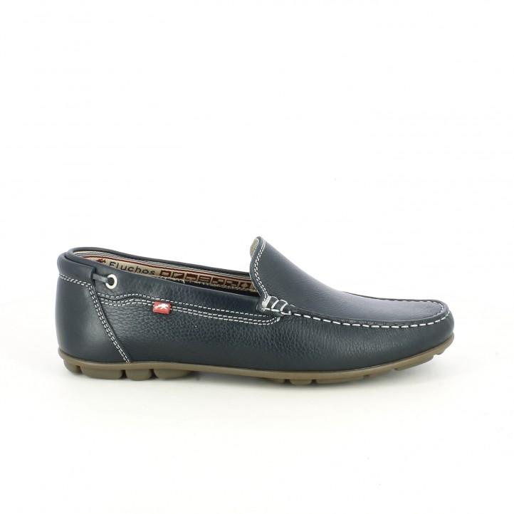 Zapatos sport Fluchos mocasines de piel azules - Querol online