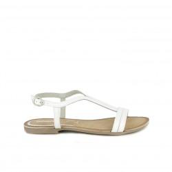 Sandalias planas Gioseppo de piel blancas con hebilla - Querol online
