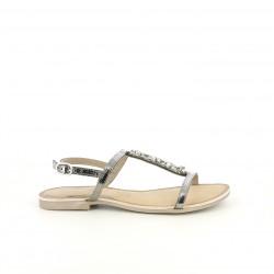 Sandalias planas Gioseppo grises metalizadas de piel y pedrería - Querol online