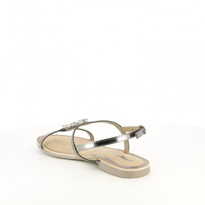 Sandàlies planes Gioseppo grises metal·litzades de pell i pedreria - Querol online