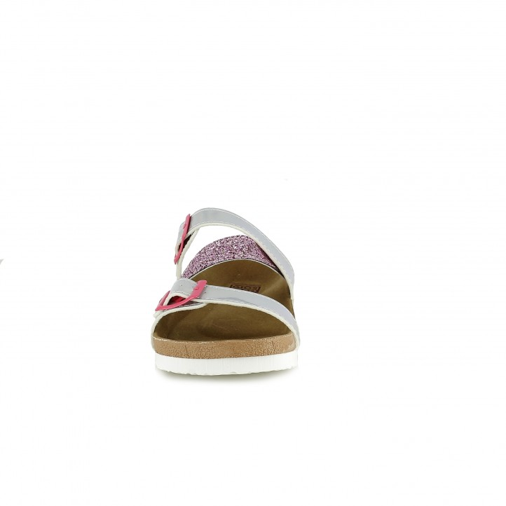 sandalias Gioseppo grises metalizadas y rosas con purpurina - Querol online