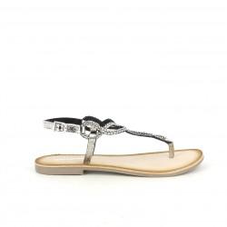 Sandalias planas Gioseppo grises metalizadas de piel con hebilla - Querol online
