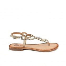 Sandalias planas Gioseppo doradas metalizadas de piel con hebilla - Querol online