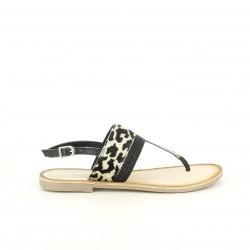Sandalias planas Gioseppo de piel con animal print - Querol online