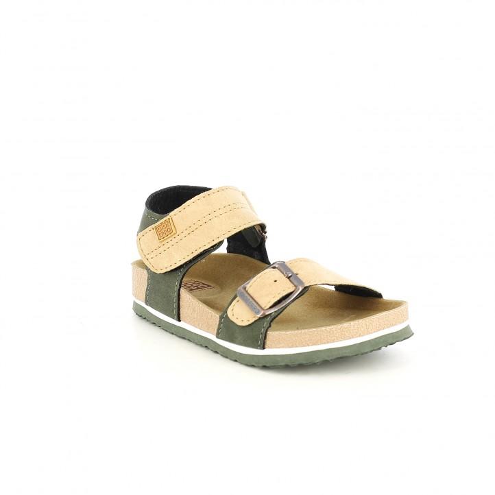 sandalias Gioseppo verdes y marrones con doble velcro - Querol online