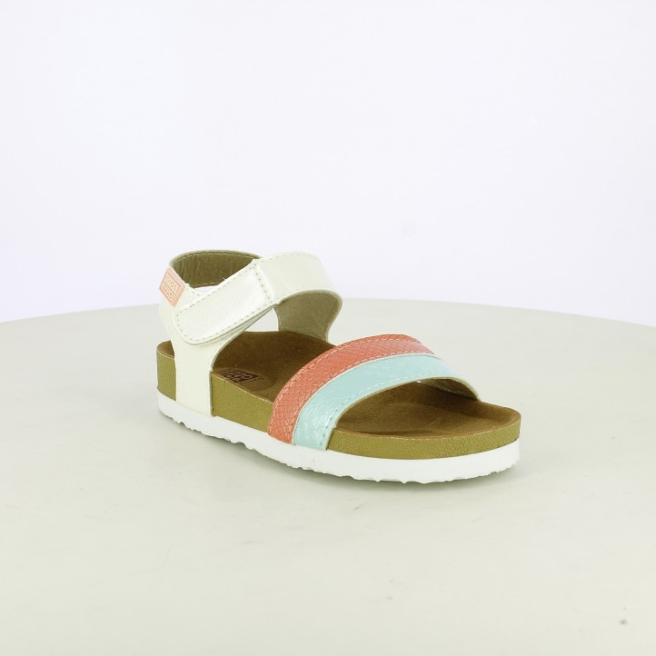 sandalias Gioseppo blancas, azules y rosas con velcro - Querol online