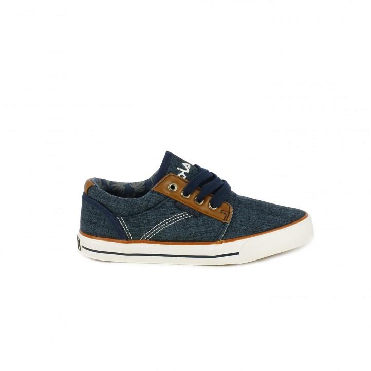f37935eb63 Zapatillas deporte Lois azules y marrones con cordones - Querol online ...