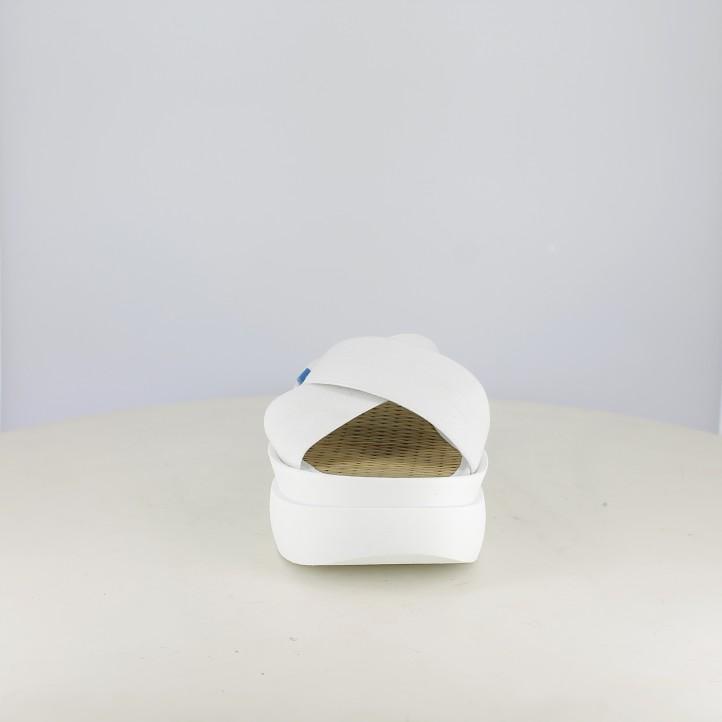 Zuecos Mustang blancos de plataforma con tiras - Querol online