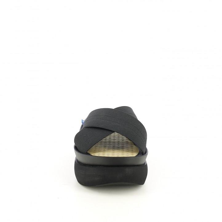 Zuecos Mustang negros de plataforma con tiras - Querol online