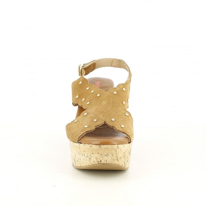 Sandàlies taló Redlove marrons de pell amb tatxes daurades - Querol online
