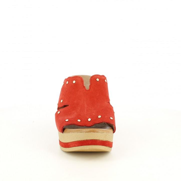 Esclops Redlove vermells de pell amb tatxes daurades - Querol online