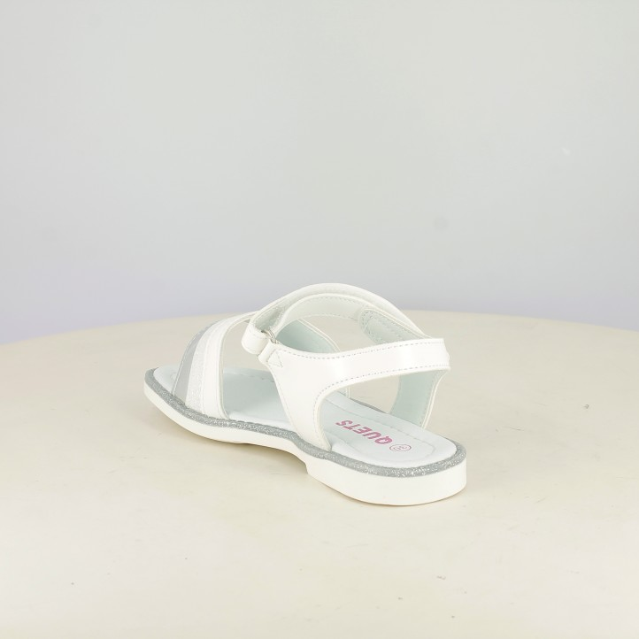 sandalias QUETS! blancas con franjas metalizadas y de purpurina - Querol online