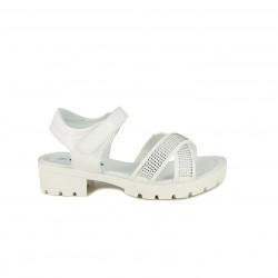 sandalias QUETS! blancas con tiras, velcro y brillantes - Querol online