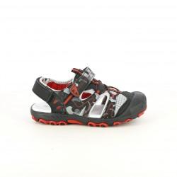 sandalias QUETS! cerradas negras y rojas con velcro y elásticos - Querol online