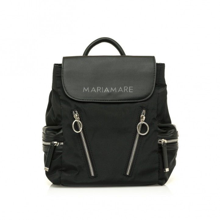 Complementos Maria Mare mochila negra con cremalleras delanteras y laterales - Querol online