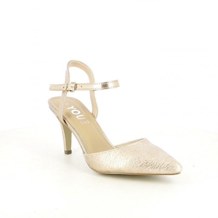Zapatos tacón You Too rosa metalizado de punta con hebilla - Querol online