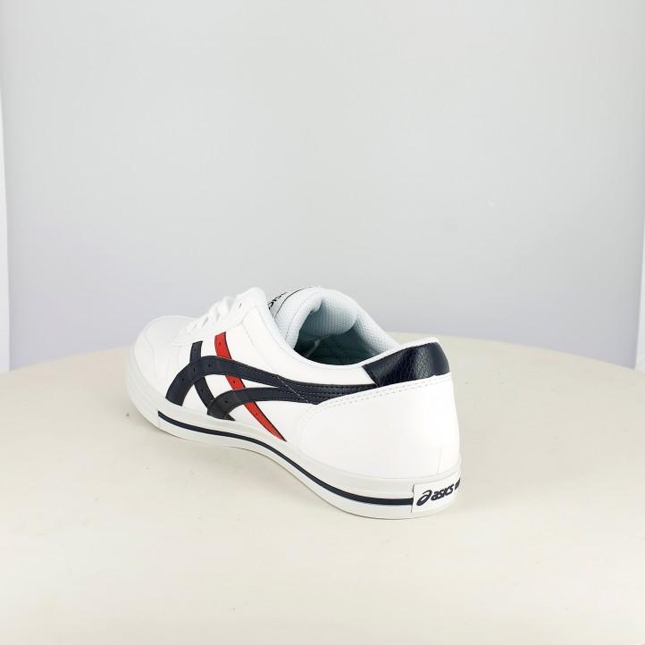 Zapatillas deportivas Asics blancas y azules con cordones - Querol online