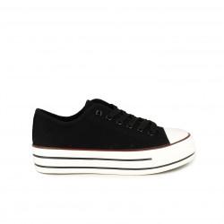 Zapatillas lona Owel bajas de plataforma negras con cordones - Querol online
