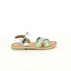 sandalias Gioseppo verdes y grises metalizadas de piel con velcro - Querol online