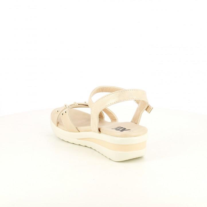 sandalias Xti rosas metalizadas con plataforma y hebilla - Querol online