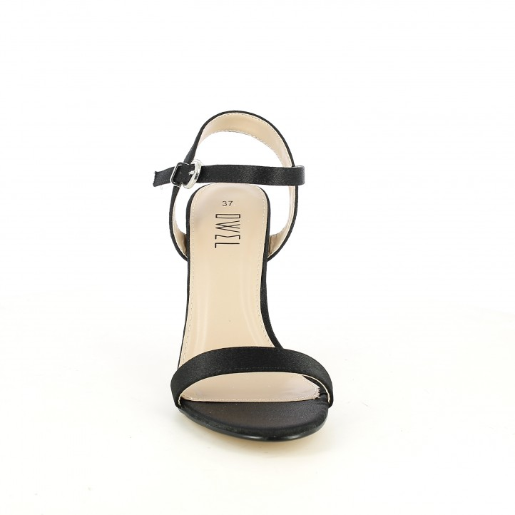 Sandalias tacón Owel negras con tiras, hebilla y tacón de aguja - Querol online