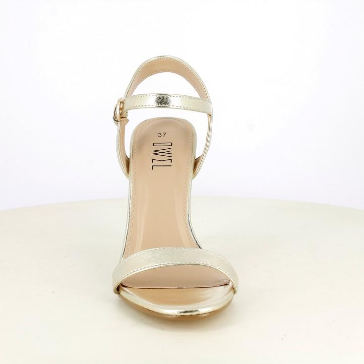 Sandalias tacón Owel doradas metalizadas con tiras, hebilla y tacón de aguja - Querol online
